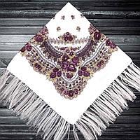 Хустка народна з бахромою (80х80) біло-фіолетова