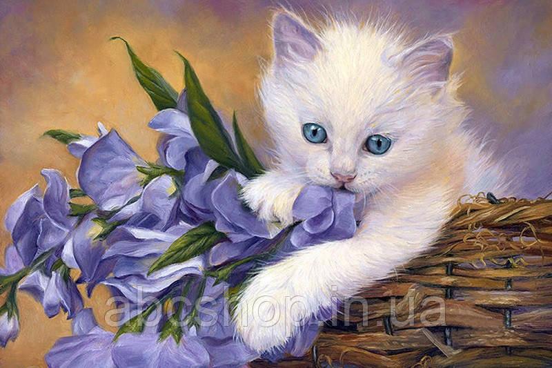 """Набор алмазной вышивки мозаики """"Котенок с цветами"""" 30*40 см"""