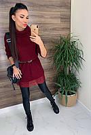 Женское вязанное платье-туника с кружевом