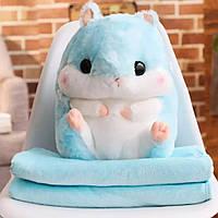 Плед Хомяк 3 в 1 мягкая игрушка подушка плед-подушка хомячок Голубой