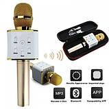 Bluetooth микрофон для караоке Q7 Блютуз микро + ЧЕХОЛ Черный, фото 8