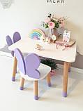 Детский стол и 1 стул (деревянный стульчик бабочка и прямоугольный стол), фото 2