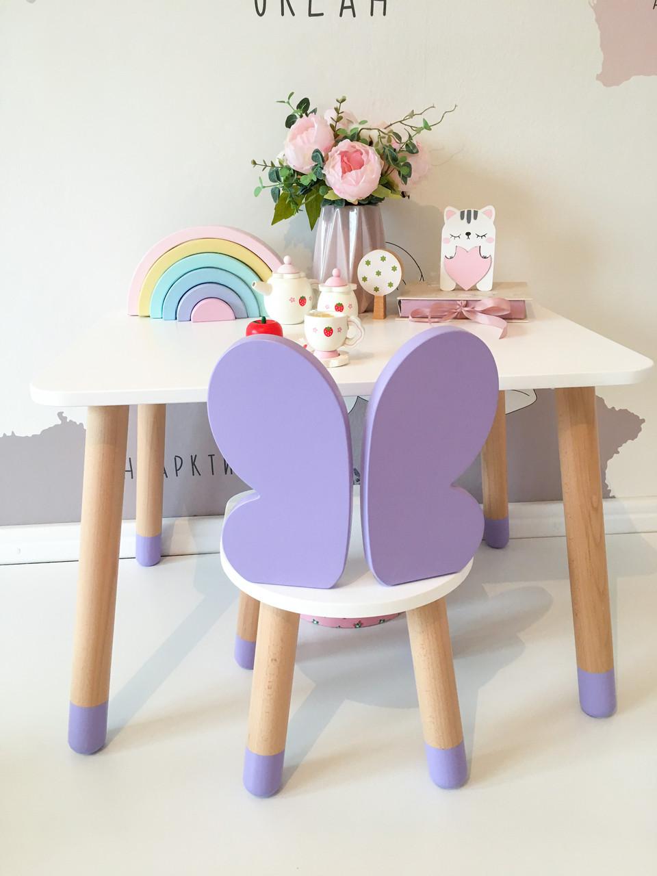 Детский стол и 1 стул (деревянный стульчик бабочка и прямоугольный стол)