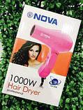 Фен для волос дорожный Nova 1000W со складной ручкой РОЗОВЫЙ, фото 6