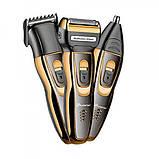 Мужской триммер бритва аккумуляторная для стрижки волос и бороды ProGemei Gold GM-595, фото 5