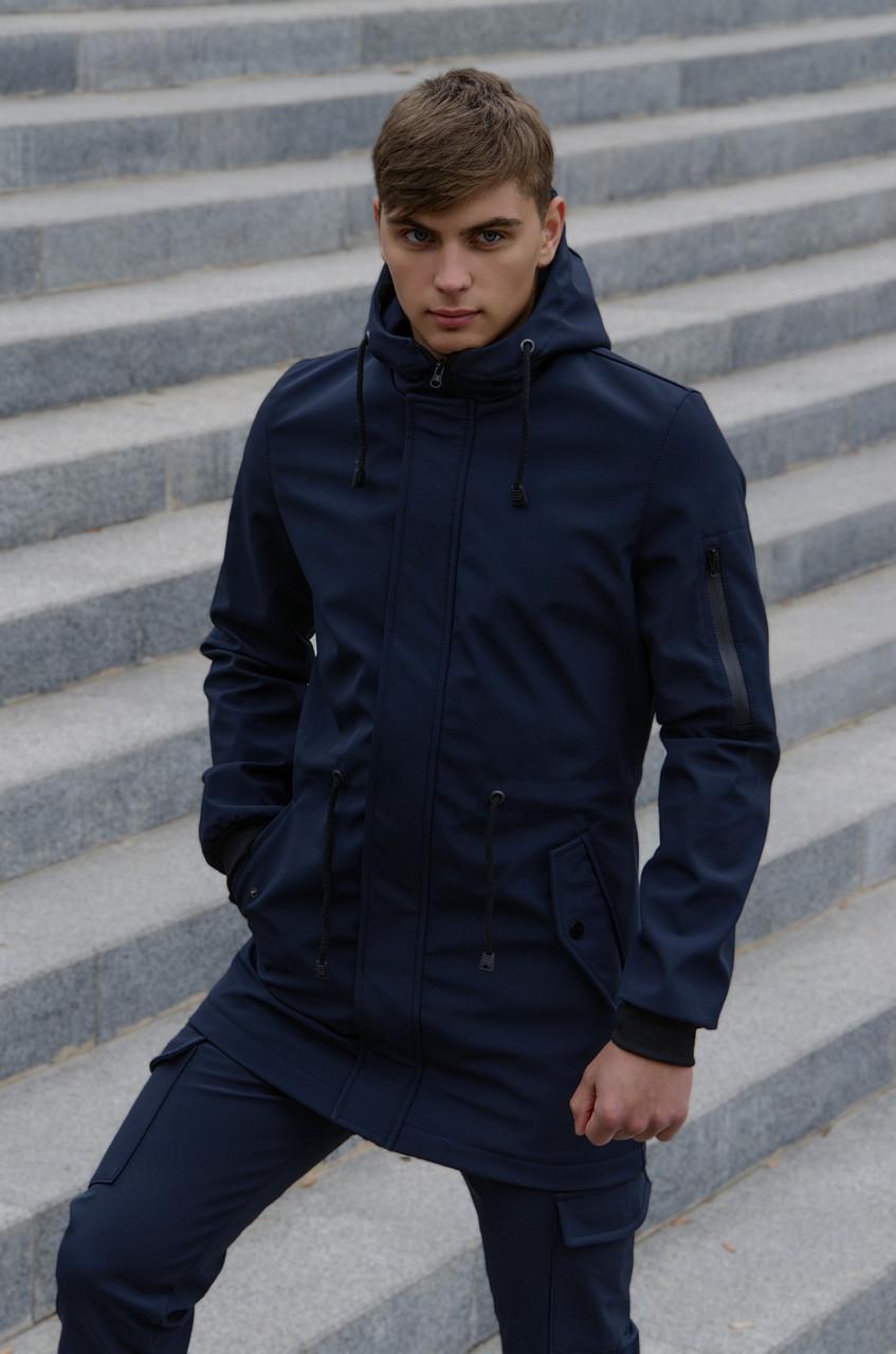 Куртка Softshell V2.0 мужская синяя демисезонная Intruder + Ключница в подарок
