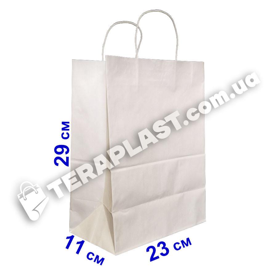 Бумажный пакет 230х110х290 белый с ручками, плотность 90г/м2