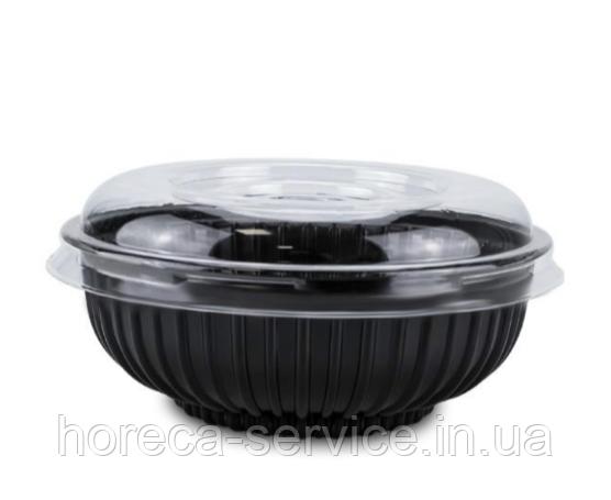 Салатник черный с крышкой 500 мл.