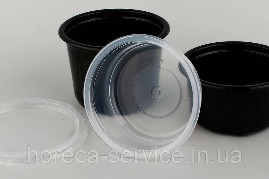 Ланч-бокс РР герметичный с крышкой для микроволновки черный 350 мл.