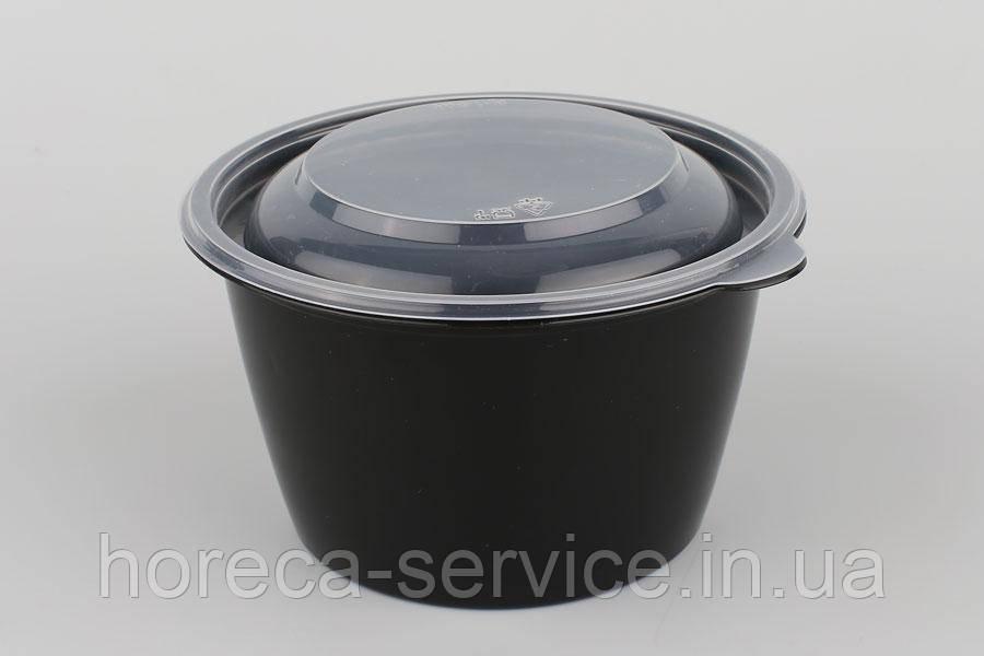 Ланч-бокс РР герметичный с крышкой для микроволновки черный 750 мл.