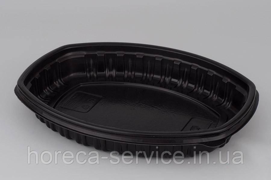 Ланч-бокс РР с крышкой для микроволновки черный 257х202х37 мм.