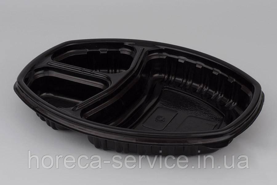 Ланч-бокс на 3 секции PP с крышкой для микроволновки черный 257х202х37 мм.