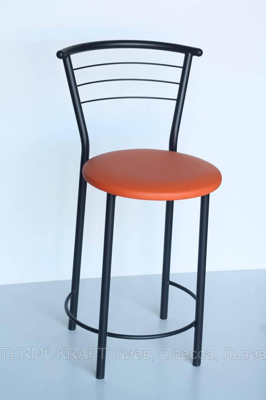Стул барный  Марко Хокер black кожзам оранжевый для кухни, бара, летней площадки