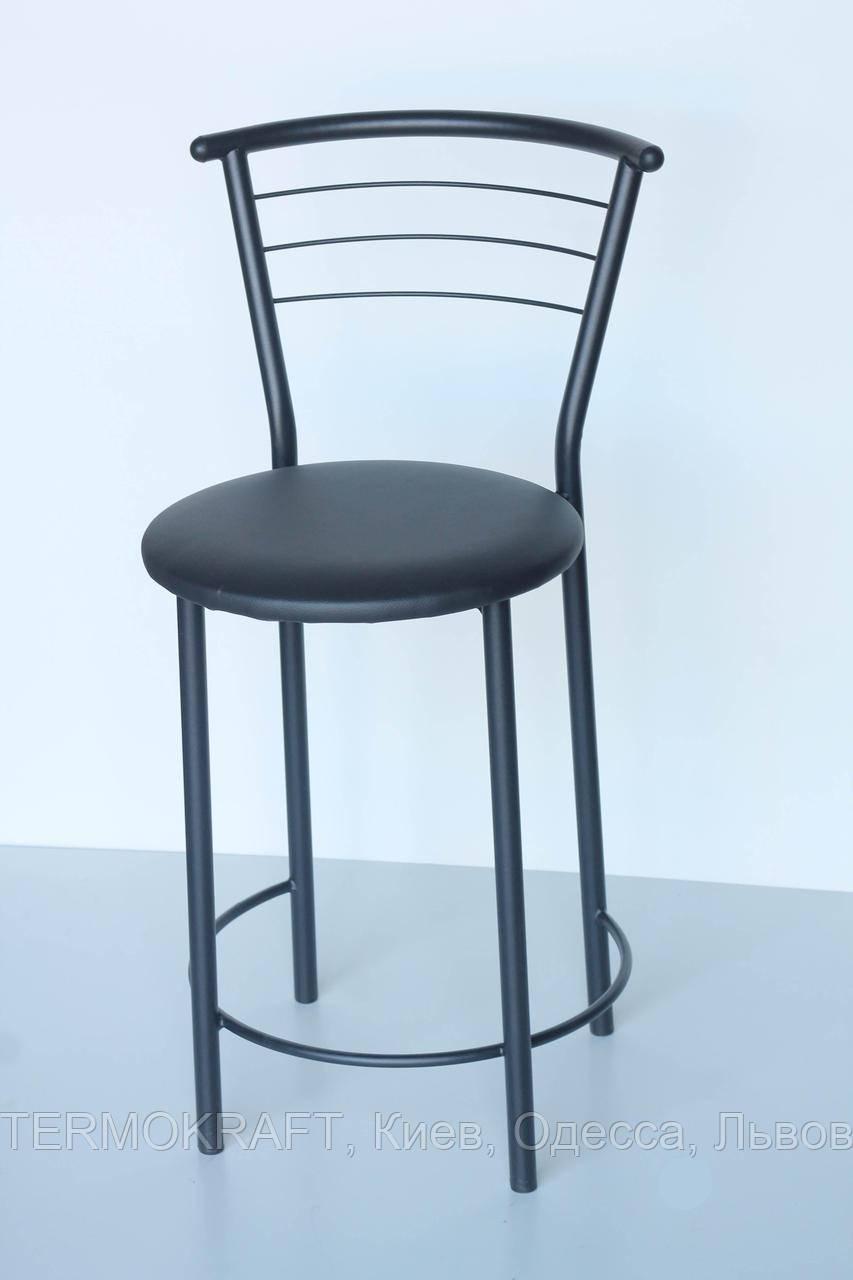 Стул барный  Марко Хокер black кожзам черный для кухни, бара, летней площадки