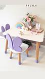Детский стол и  2 стула (деревянный стульчик бабочка  2 шт и прямоугольный стол), фото 3