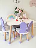 Детский стол и  2 стула (деревянный стульчик бабочка  2 шт и прямоугольный стол), фото 2