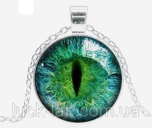 Подвеска с линзой глаз дракона, фантастический кулон зеленый в серебристой оправе