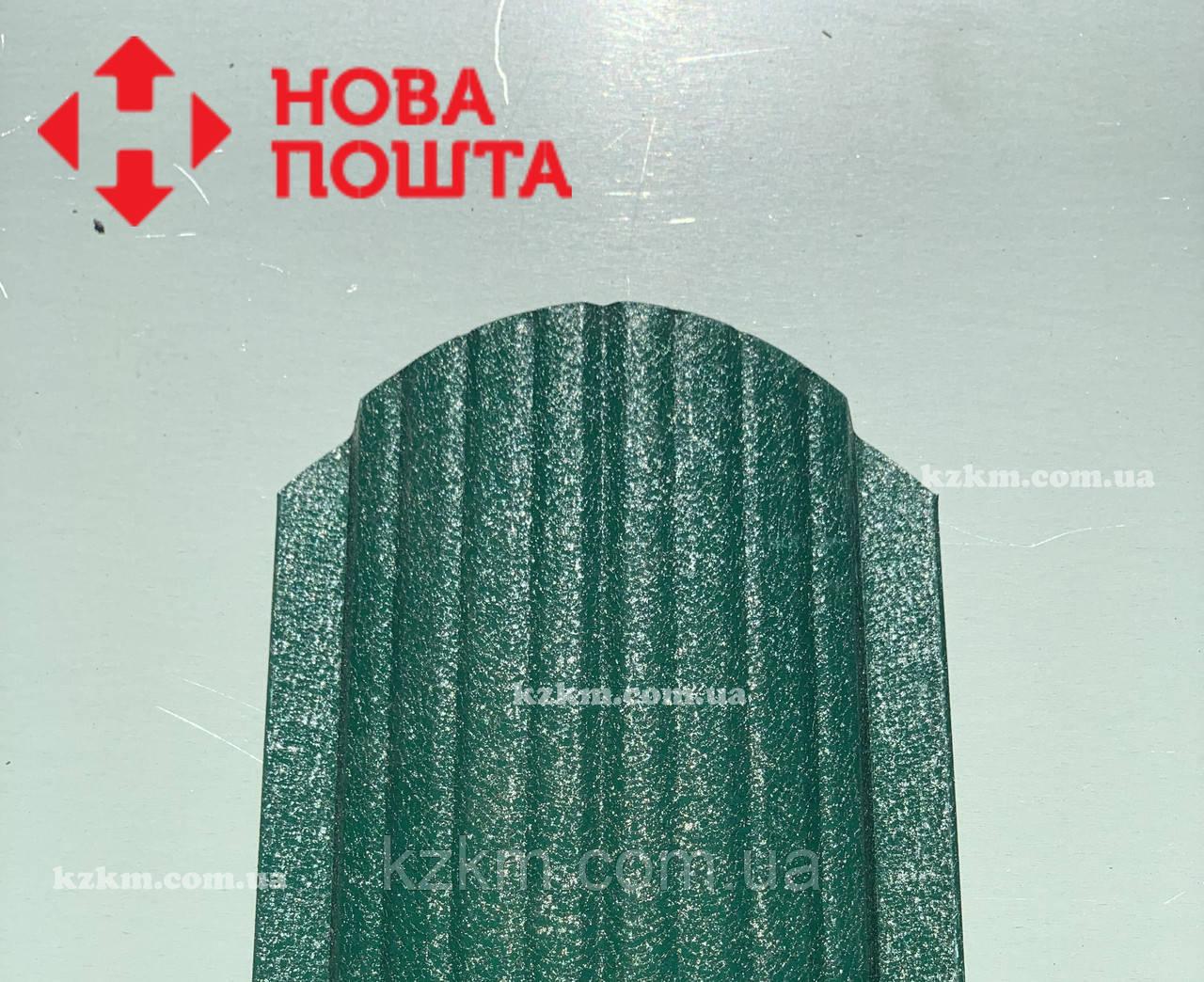 Штакетник матовый зеленый RAL 6005, штахет, евроштакет , забор из штакета, металлический зеленого цвета