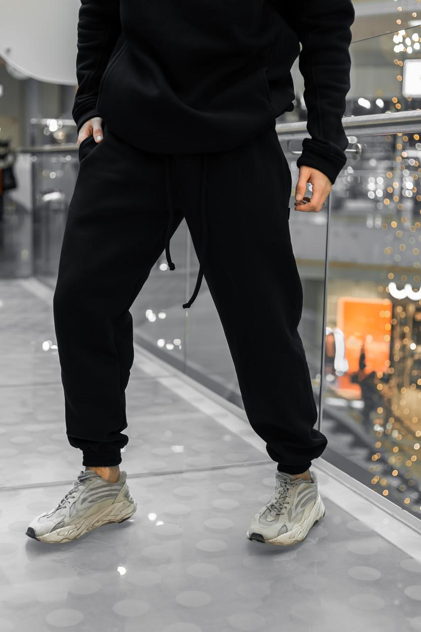 Штаны зимние мужские на флисе Intruder черные спортивные теплые мужские брюки