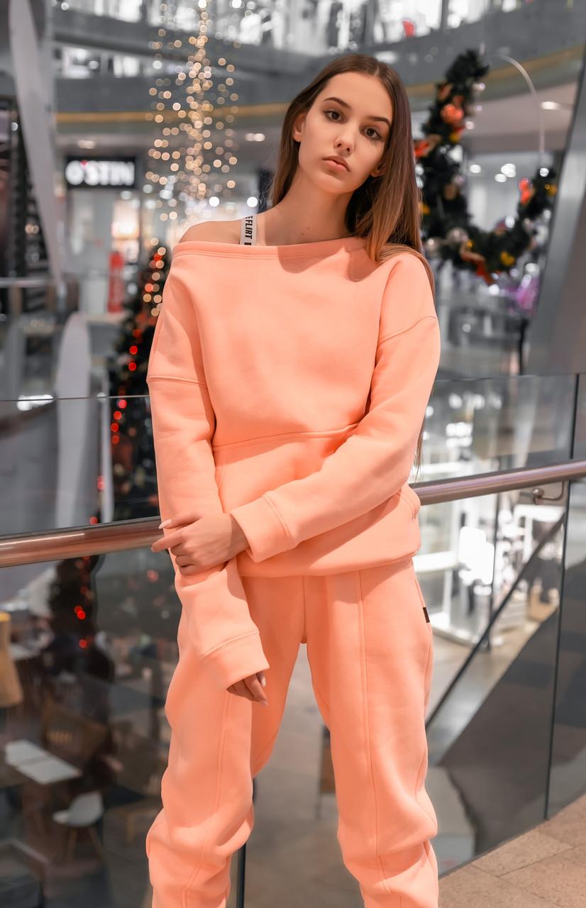 Свитшот Женский теплый зимний демисезонный Intruder Brand Basic розовый на флисе кофта толстовка Oversize