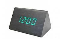 Электронные настольные часы-будильник Led Wood Clock VST-864-1 с будильником, датой и термометром
