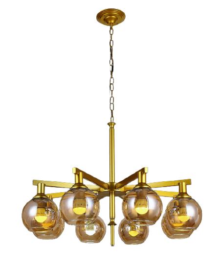 Люстра подвесная на восемь плафонов на золотом основании в стиле loft 756PR6510-8 GD