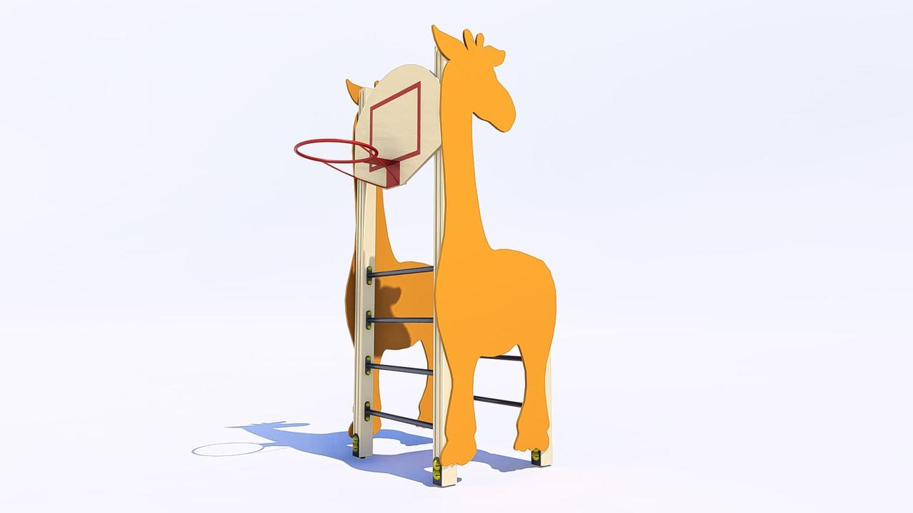 Шведская стенка с баскетбольным кольцом «Жираф»