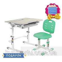 Комплект растущая парта для дома FunDesk Lavoro L Grey+детский стул FunDesk SST2 Green