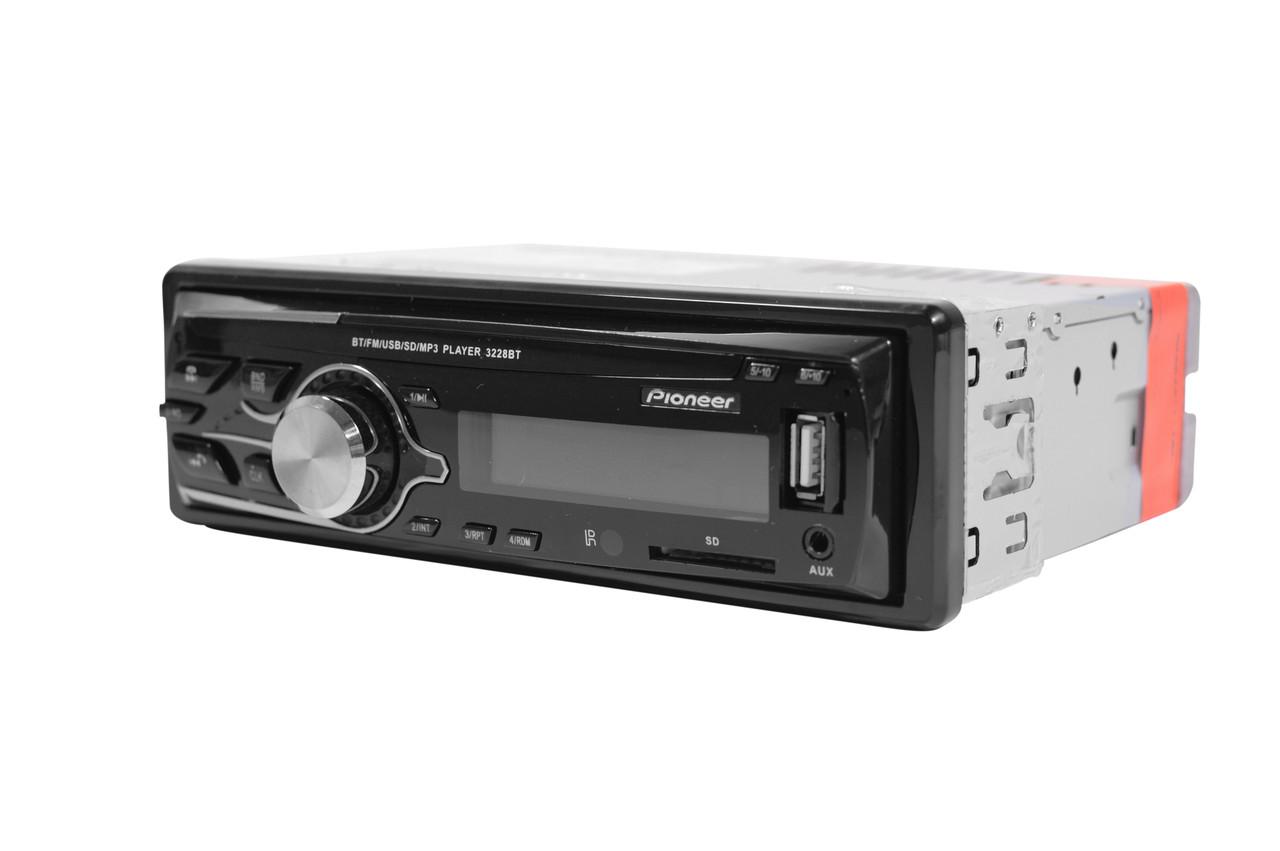 Pioneer 3228BT  Usb+RGB подсветка+Fm+Aux  Автомагнитола с пультом  (4x50W)+ПОДАРОК!