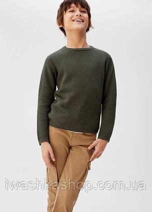 Брендовый джемпер цвета хаки на мальчика 10 лет, р. 140, Mango
