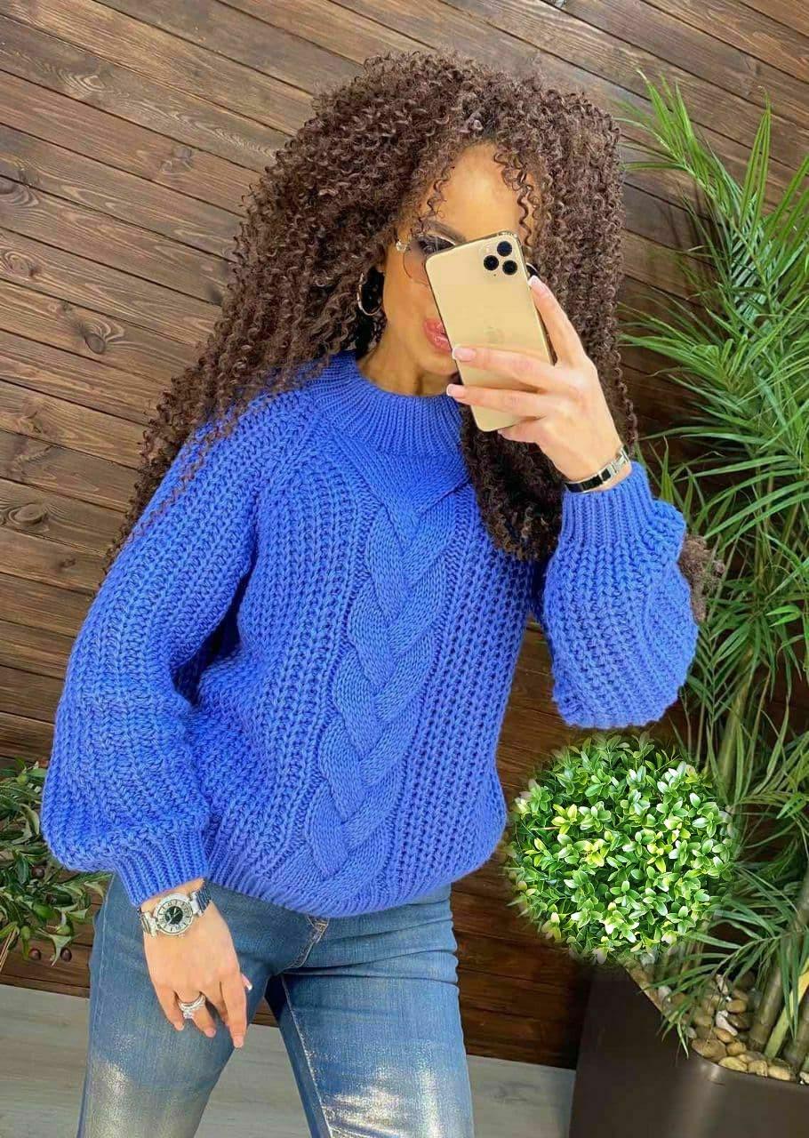 """Модный женский вязанный свитер """"Oversize"""" , размер единый 42-46"""