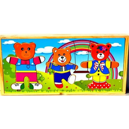 Дерев'яна дошка-вкладиш Сім'я ведмедиків B203