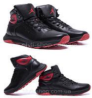 Мужские зимние кожаные кроссовки Jordan Black leather (реплика). Мужские кроссовки. Мужская зимняя обувь