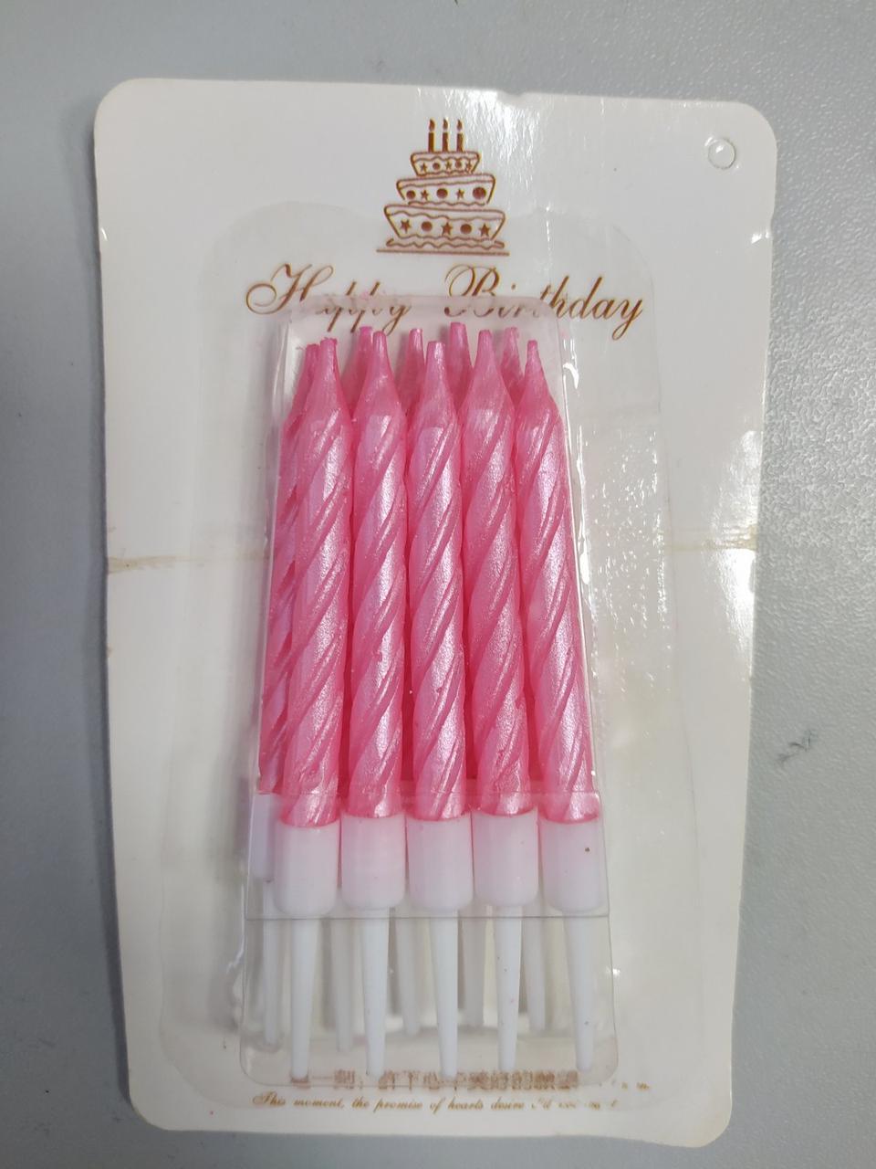 Свічки для торта тонкі 8см рожевий