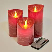 Электронные свечи с имитацией пламени и пультом управления Red набор