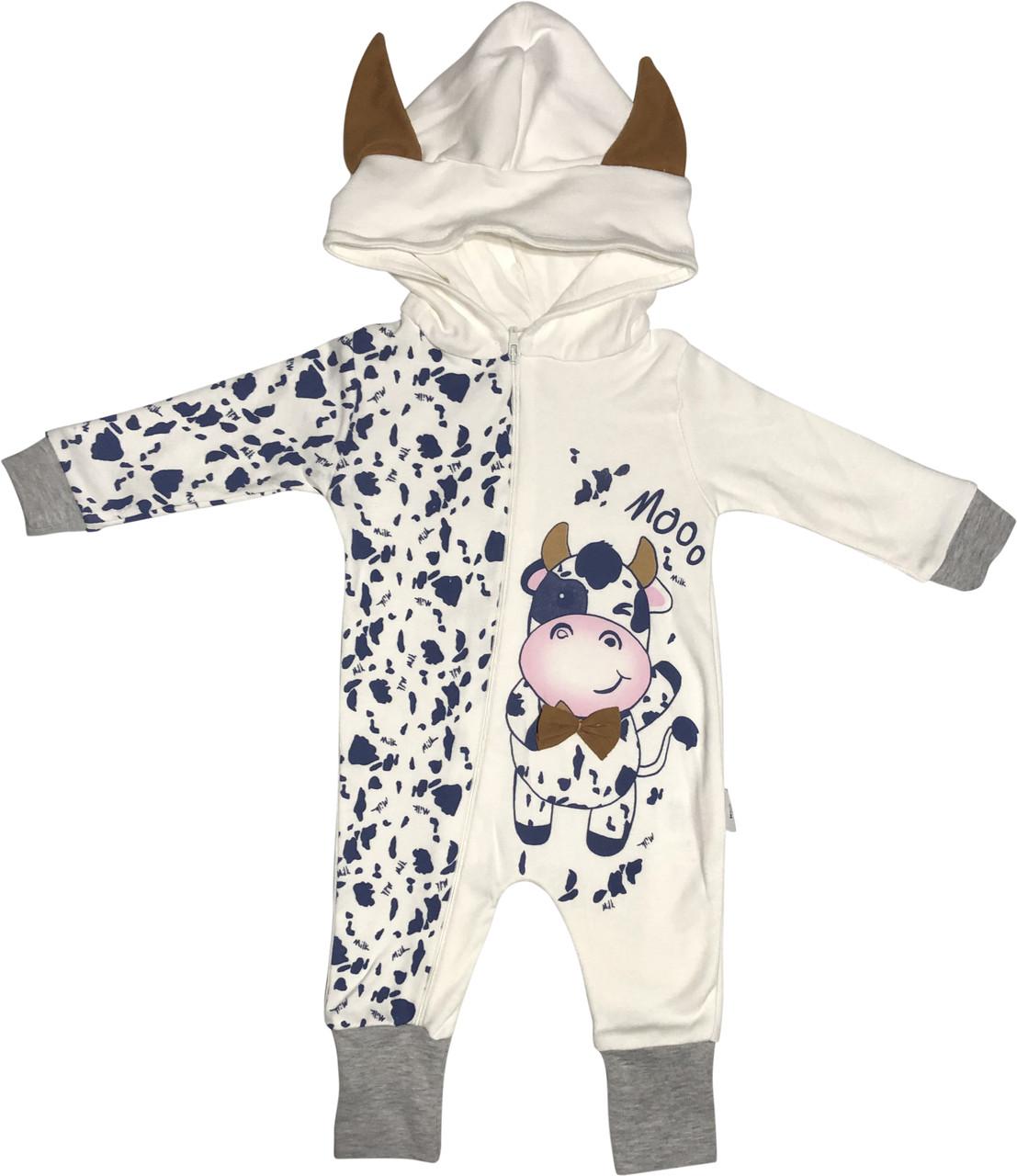 Человечек слип для новорожденных рост 56 0-2 мес на мальчика девочку с капюшоном открытые ножки трикотаж белый