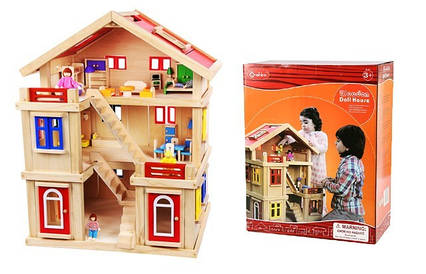 Ляльковий будиночок з меблями ручної дерев'яний будинок TNWX-1269