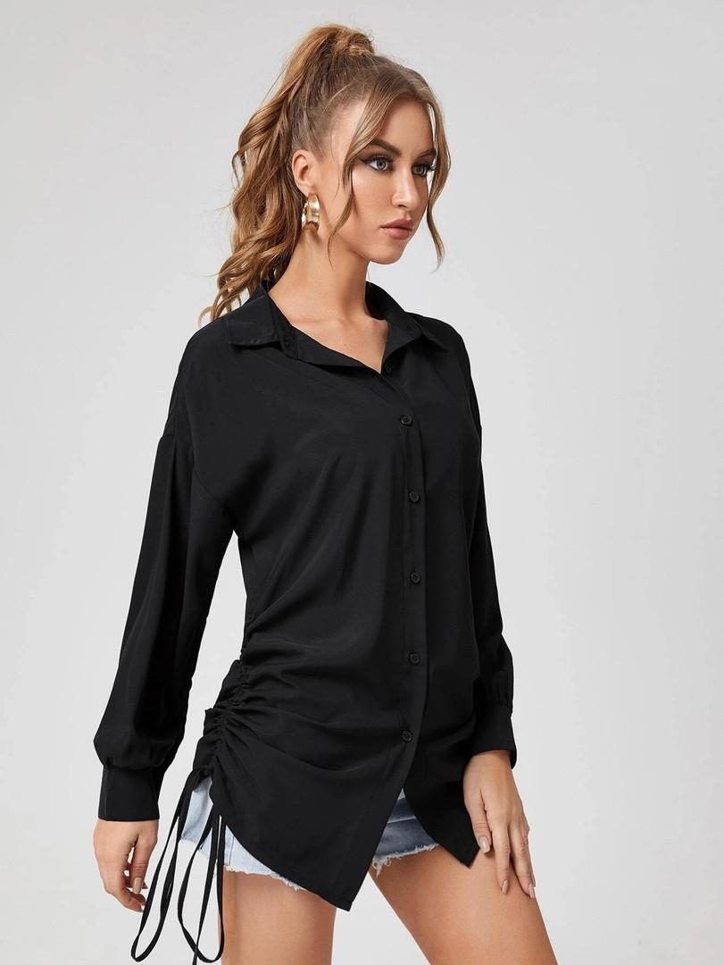 Женская удлиненная рубашка с длинным рукавом на завязках