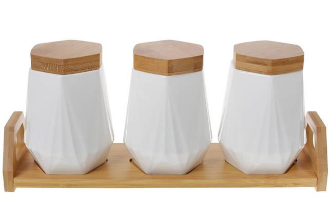 Набор (3 шт) банок 450мл для сыпучих продуктов Naturel на бамбуковой подставке (289-352), фото 2