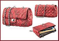 Сумка женская SNAKE LEATHER 18503 из натуральной кожи питона Красная. Женские сумочки и клатчи