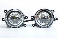 Противотуманные LED Фары Линза с ДХО D=100мм 12V/10W 6500K/COB косой угол (2шт) (3413)