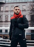 Куртка nike зимняя Евро красная - черная найк пуховик мужской