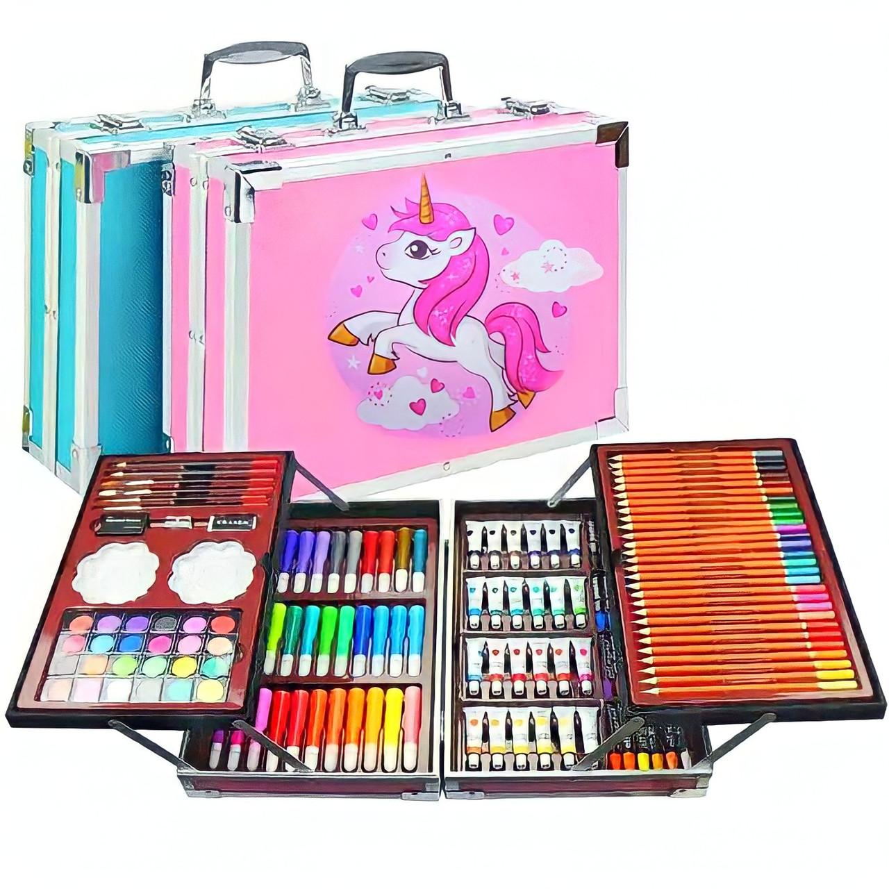 Художественный набор для рисования 145 предметов в алюминиевом чемоданчике | Набор для творчества Единорог
