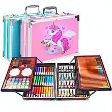 Художественный набор для рисования 145 предметов в алюминиевом чемоданчике   Набор для творчества Единорог