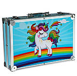 Художній набір для малювання 145 предметів в алюмінієвому валізці   Набір для творчості Єдиноріг, фото 2