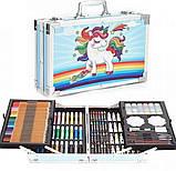 Художній набір для малювання 145 предметів в алюмінієвому валізці   Набір для творчості Єдиноріг, фото 4
