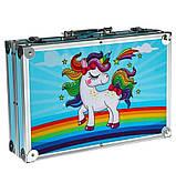 Художественный набор для рисования 145 предметов в алюминиевом чемоданчике | Набор для творчества Единорог, фото 2
