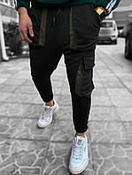 Мужские спортивные штаны черные/хаки, фото 1