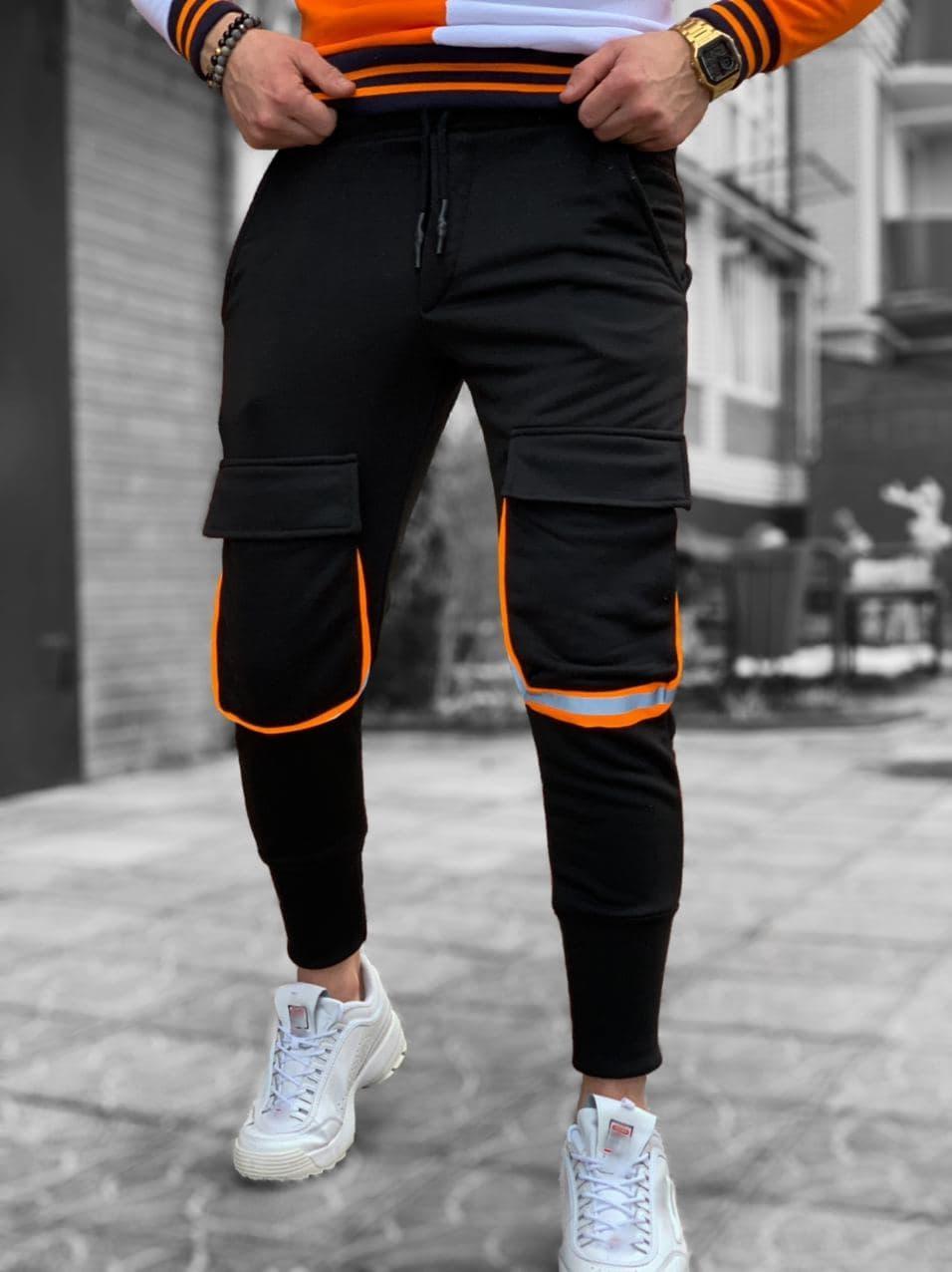 Мужские спортивные штаны черные с оранжевым