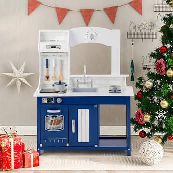 Детская игровая кухня с дерева с плитой, мойкой, духовкой и посудой Bambi синяя